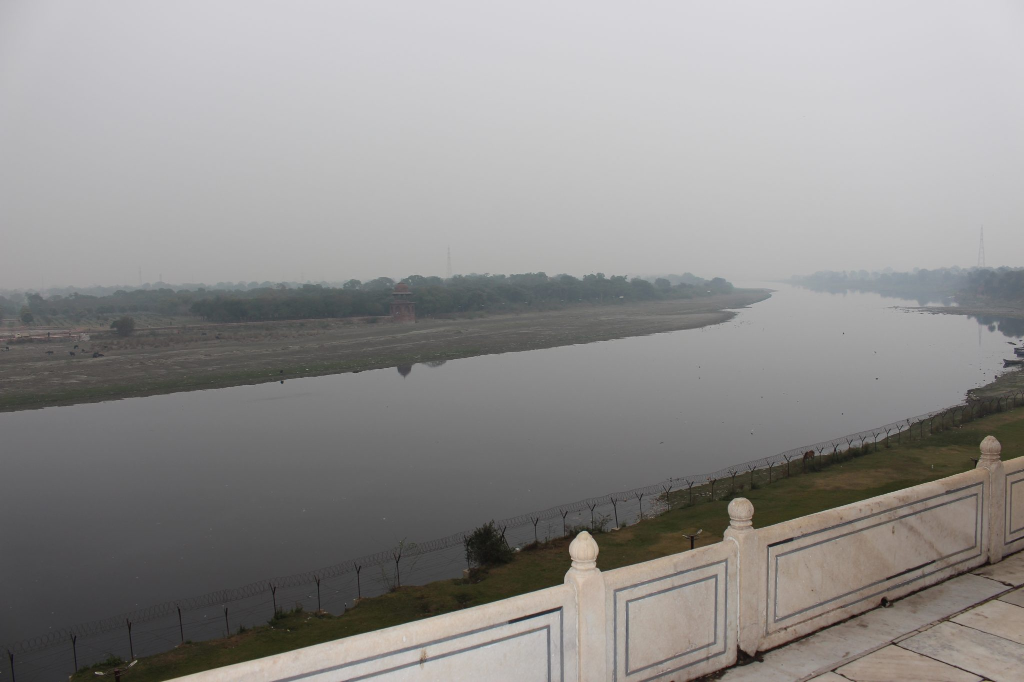 A view of the Yamuna River from the rear of the Taj Mahal Agra India