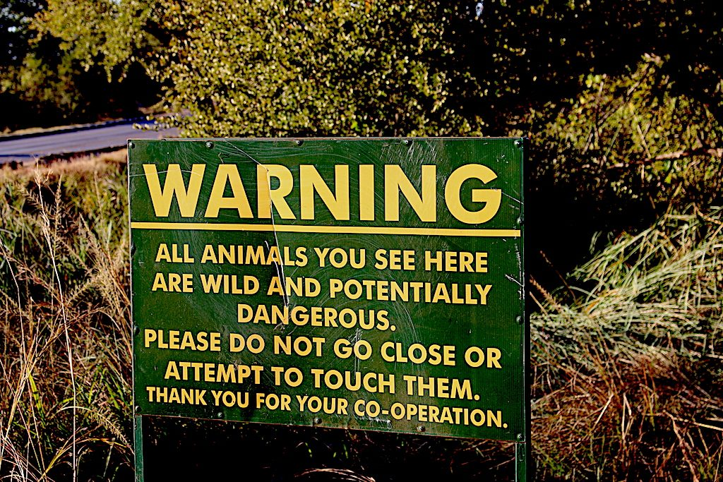 Warning Sign in Chobe National Park Botswana Safari with G Adventures Africa