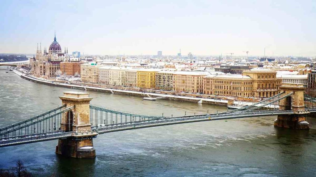 winter city breaks europe budapest chain bridge and parliament