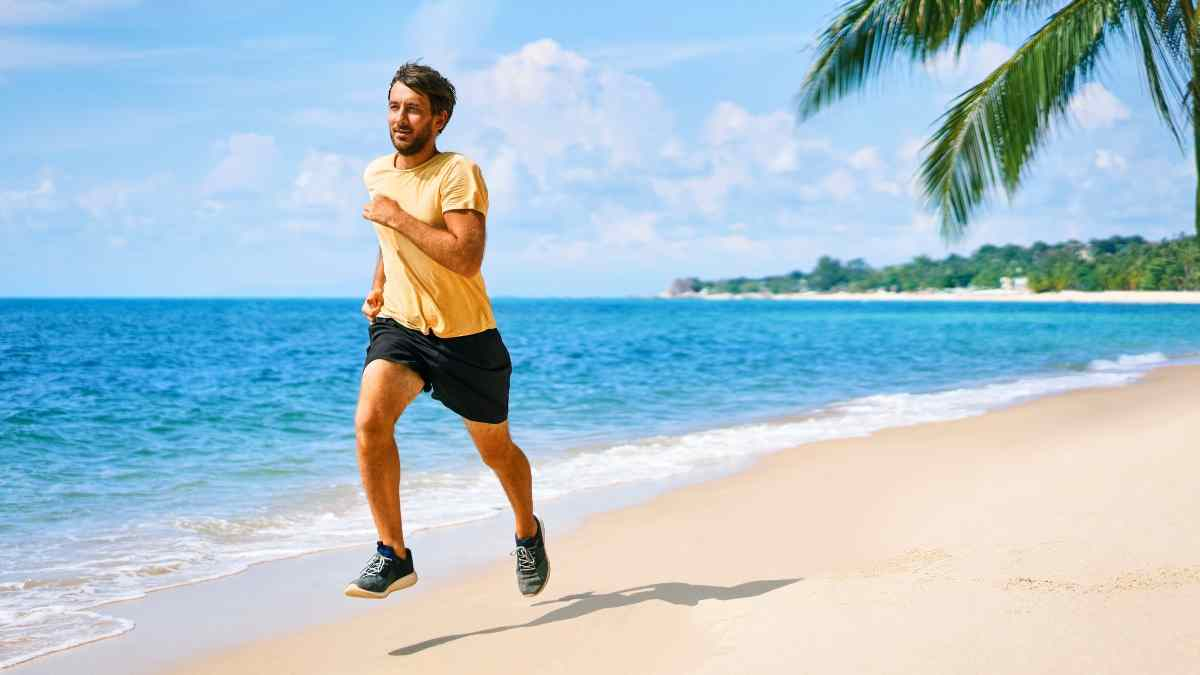 staying fit while traveling beach runner