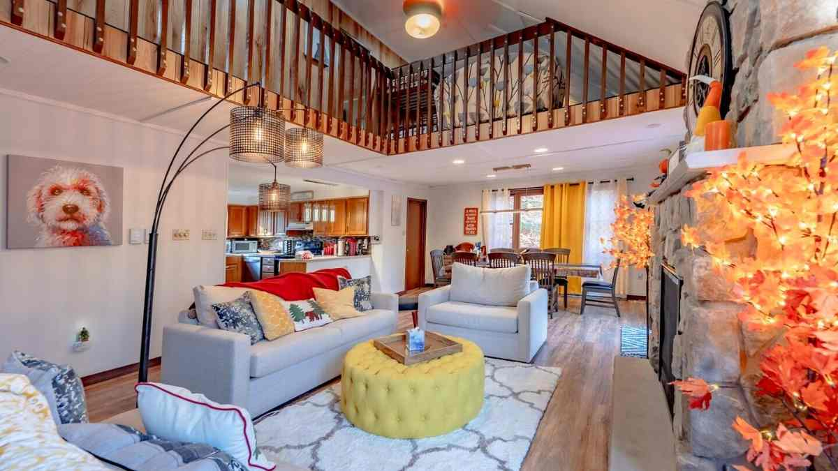 airbnb poconos living room cabins for friends